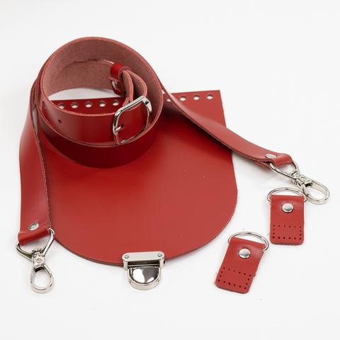 """Комплект для сумки-ракушки """"Красный"""" с ручкой через плечо и клапаном"""