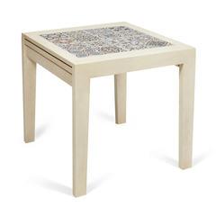 Стол раскладной с плиткой CT 3030 Kasablanca ( античный белый, рисунок - марокко)