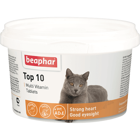 купить бефар Beaphar Top 10 Cat кормовая добавка с биотином и таурином для кошек со вкусом креветок