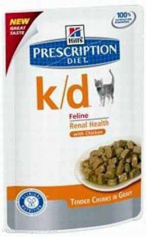 1187 ХИЛЛс ДИЕТА пауч д/кошек К/D лечение заболеваний почек 85г*12