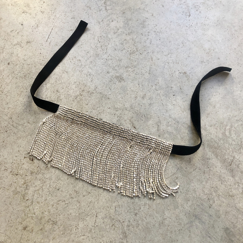 Браслет-трансформер серебристый на черной ленте