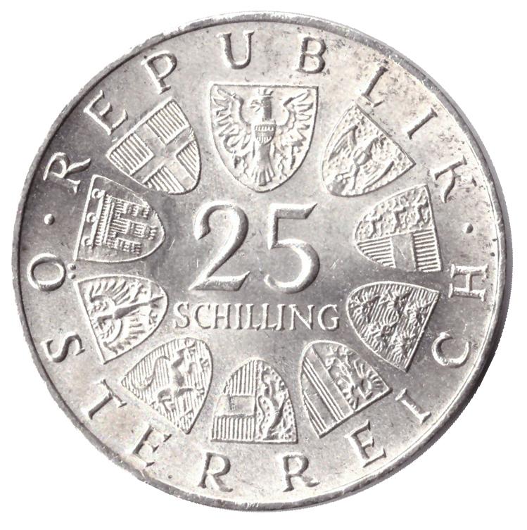 25 шиллингов 1964 год поэт Франц Грильпарцер, Австрия. XF-AU