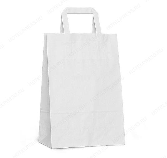 Белый бумажный крафт пакет с плоскими ручками