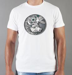 Футболка с принтом Знаки Зодиака, Телец (Гороскоп, horoscope) белая 0079