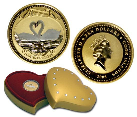 2008 Острова Кука 10 долларов Лебеди Au-999
