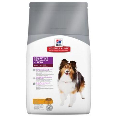 12 кг. HILL'S Science Plan Сухой корм для взрослых собак для здоровья ЖКТ Adult Sensitive Stomach&Skin Chicken