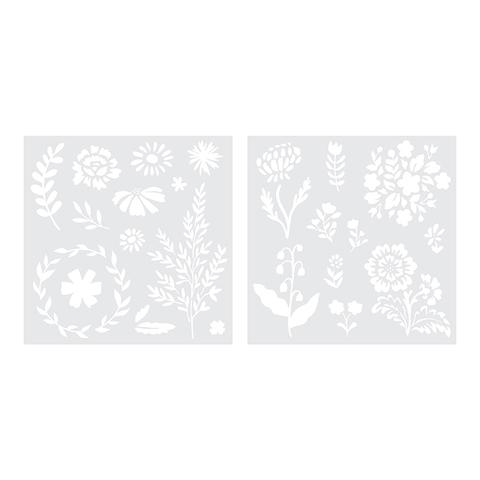 Трафарет для фольгирования 18х18 см Foil Quill Freestyle Stencils by We R Memory Keepers  -Floral -2 шт
