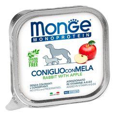 Консервы для собак, Monge Dog Monoprotein Fruits, паштет из кролика с яблоком