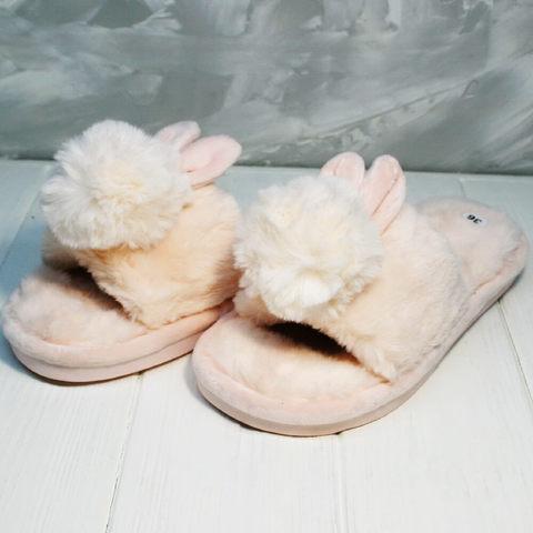 Женские тапочки зайчики. Уютные комнатные тапочки шлепки домашние Yes Mile Pink
