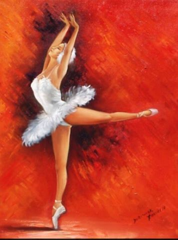 Картина раскраска по номерам 30x40 Балерина на красном фоне