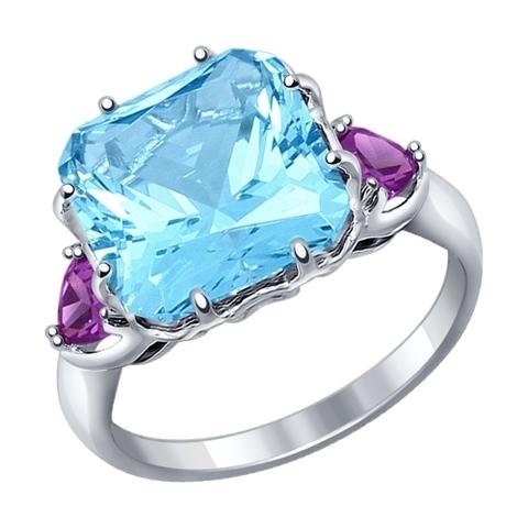 92011216 - Кольцо из серебра с голубым ситаллом и фианитами