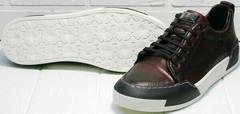Осенне весенние кроссовки для прогулок по городу мужские Luciano Bellini C6401 MC Bordo.