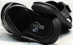 Кожаные сандалии мужские шлепки кожаные Brionis 155LB-7286 Leather Black.