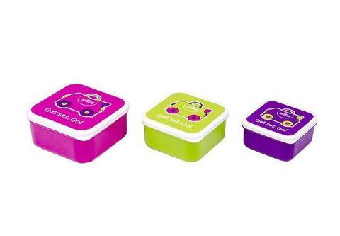 Ланч бокс 3 в 1, розовый, фиолетовый, зеленый