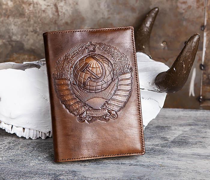 BC197 Кожаный ежедневник с гербом СССР, ручная работа (A5)