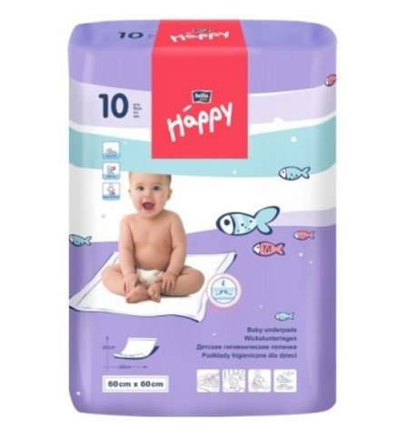 Пеленки одноразовые Bella Baby HAPPY 60х60см, 1уп/10шт