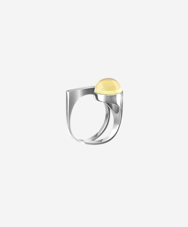 Кольцо Modernism со светлым янтарем