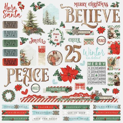 Стикеры 30х30см Country Christmas Cardstock Stickers- Combo