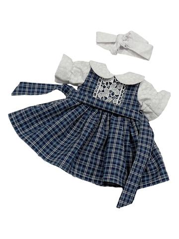 Платье комбинированное - Синий. Одежда для кукол, пупсов и мягких игрушек.