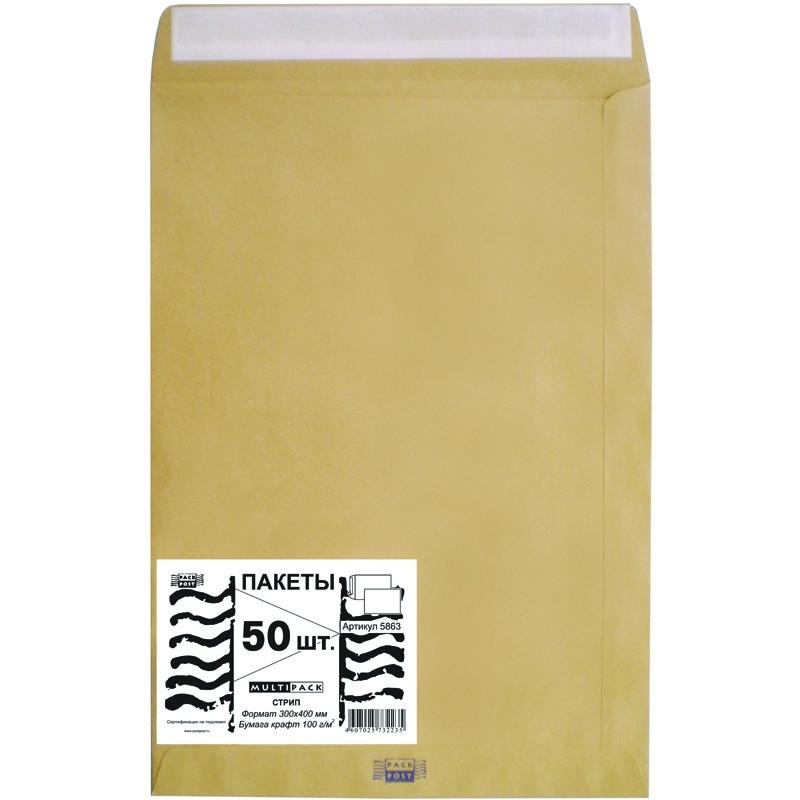 Пакет Multipack E4 из крафт-бумаги 100 г/кв.м стрип (50 штук в упаковке)