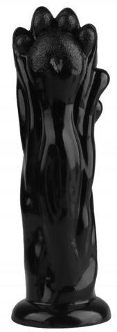 Черная фантазийная анальная втулка-лапа - 25,5 см.