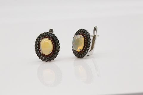 Серьги с опалом в серебре СИ-02429-7