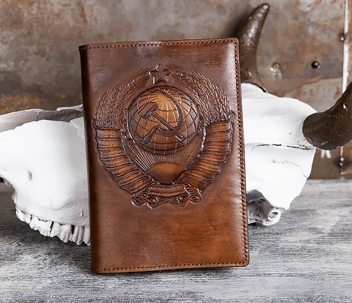 BC197 Кожаный ежедневник с гербом СССР, ручная работа (A5) фото 02