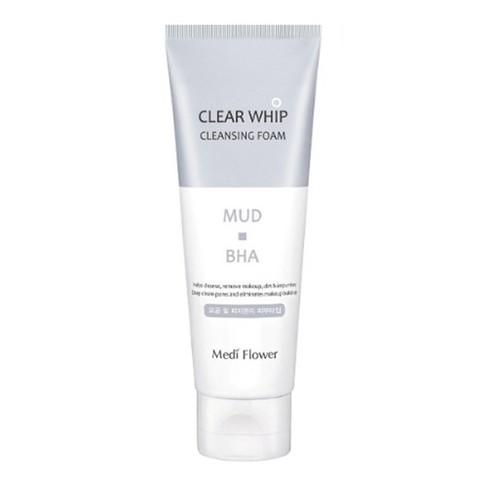MEDIFLOWER Пенка для умывания с белой глиной и BHA кислотами (120мл) / Mediflower Mud Clear Whip Cleansing Foam