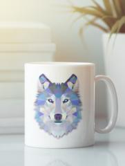 Кружка с изображением Волк (Wolf) белая 009