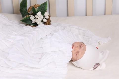 Вязаный плед для новорожденного Вязка белый