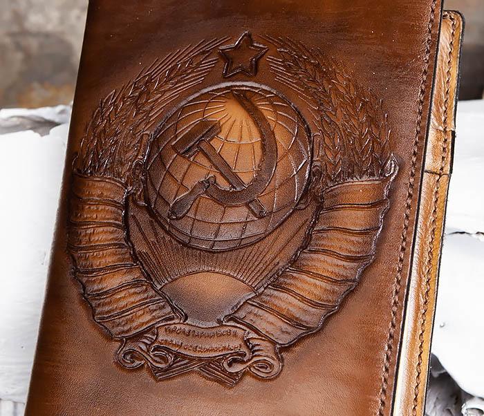 BC197 Кожаный ежедневник с гербом СССР, ручная работа (A5) фото 03