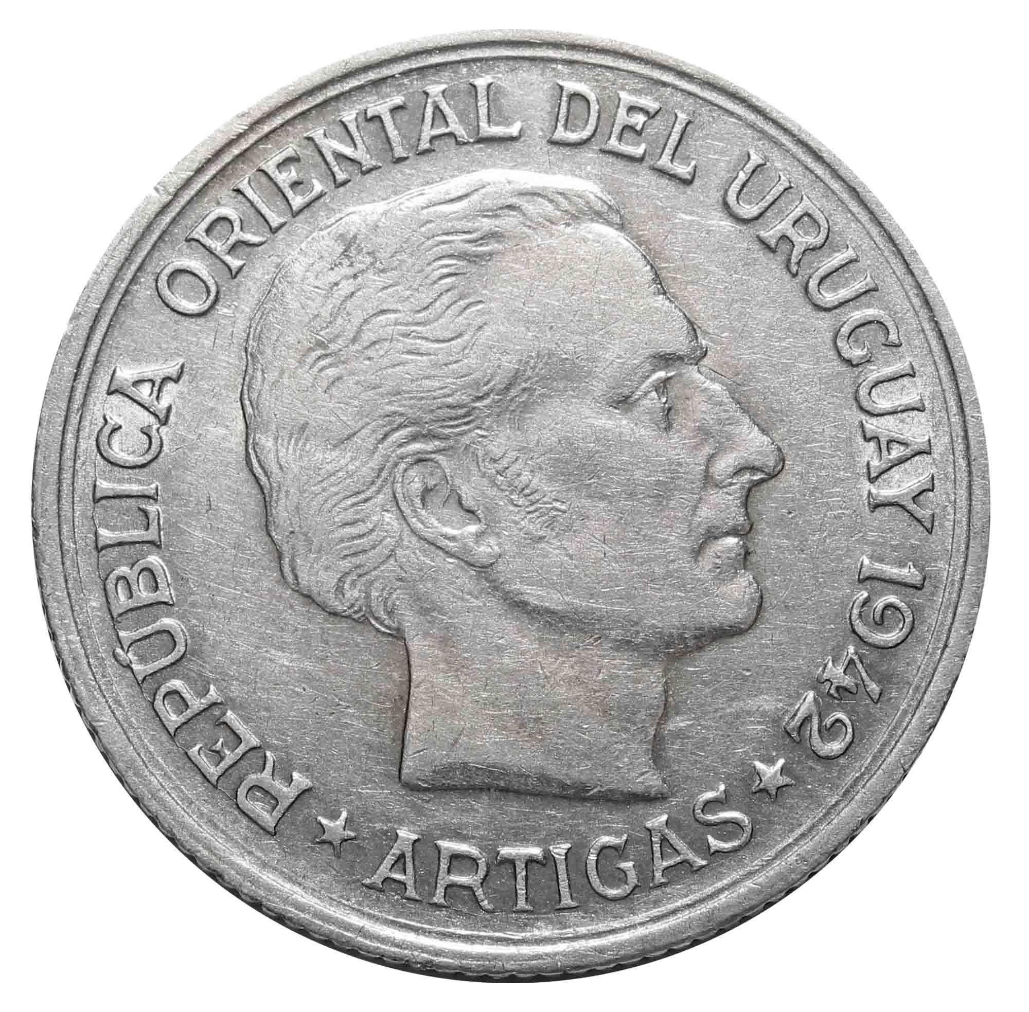 1 песо. Хосе Хервасио Артигас. Уругвай. 1942 год. Серебро. XF
