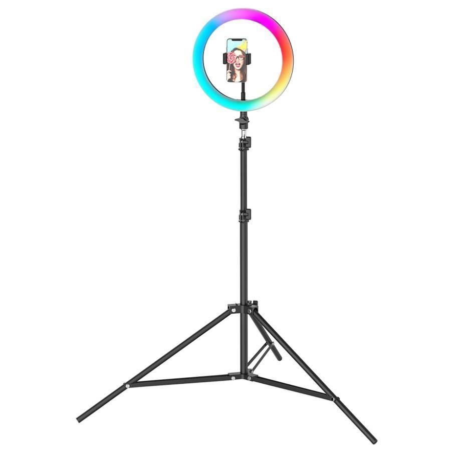 Гаджеты и hi-tech аксессуары Кольцевая LED лампа цветная RGB 33 см со штативом koltsevaya-svetodiodnaya-lampa-tsvetnaya-rgb-26-sm-so-shtativom.jpg