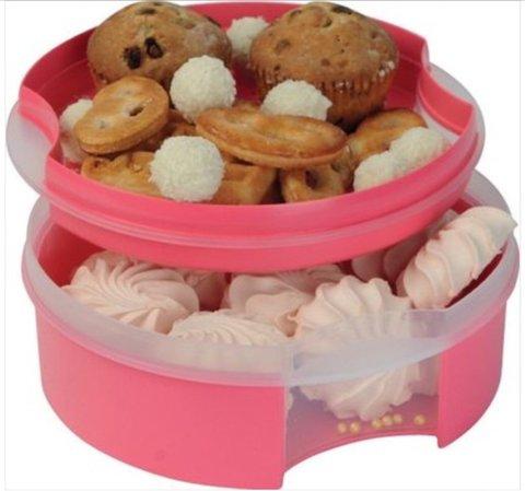 Коробочка круглая для печенья в розовом цвете