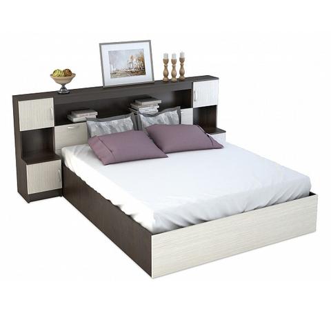 Кровать с закроватным модулем КР-552 Венге / Дуб белфорт