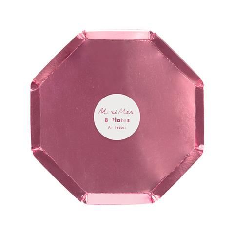 Тарелки розовые фольгированные