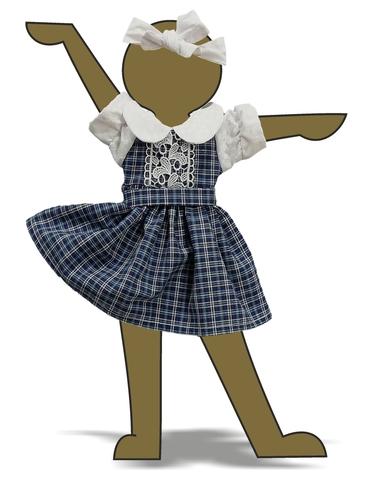 Платье комбинированное - Демонстрационный образец. Одежда для кукол, пупсов и мягких игрушек.