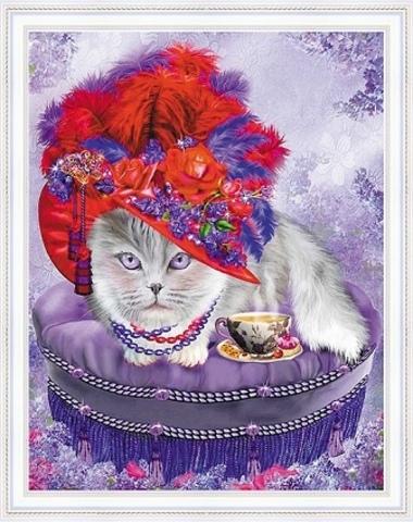 Алмазная Мозаика 40x50 Кошка в модной шляпе (арт. WXSA2643)