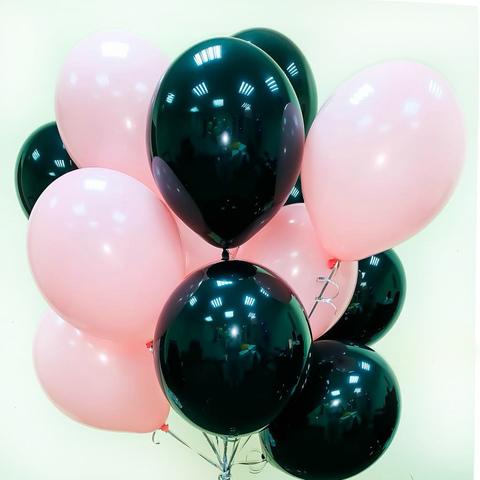 Воздушные шары с гелием Черно-розовые