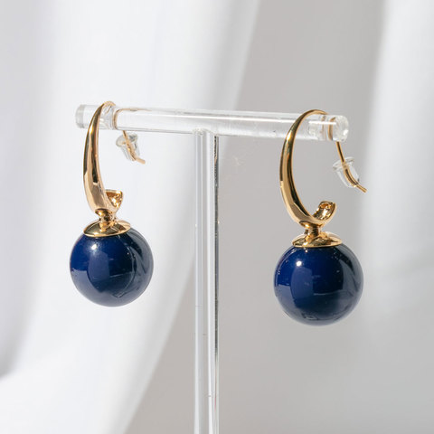 Cерьги Сферы на крючках (синий, золотистый)