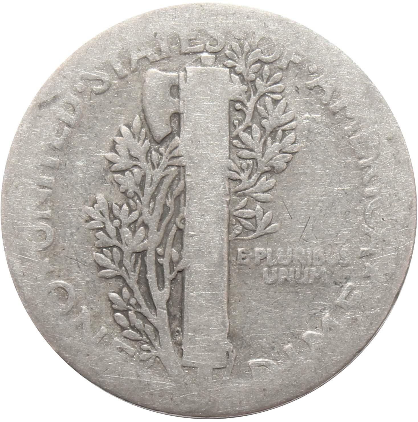 1 дайм (10 центов) 1927. США F (Меркурий) Серебро