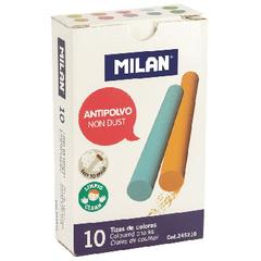 Мел школьный Milan 10 цв., круглая форма, антипыль, цвет ассорти, 245210