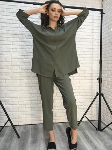 Костюм хаки с рубашкой и брюками Nadya