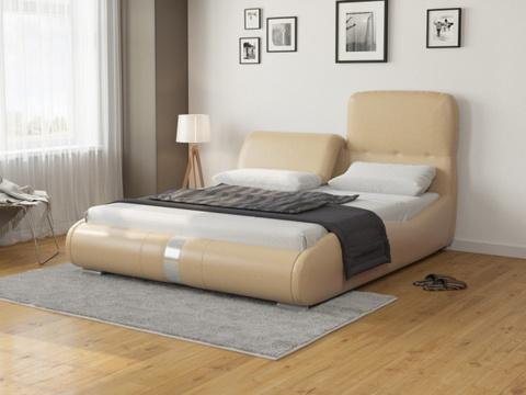 Кровать Лукка:  Экокожа бежевая