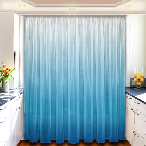 Комплект штор тюль под лен Ульяна голубой