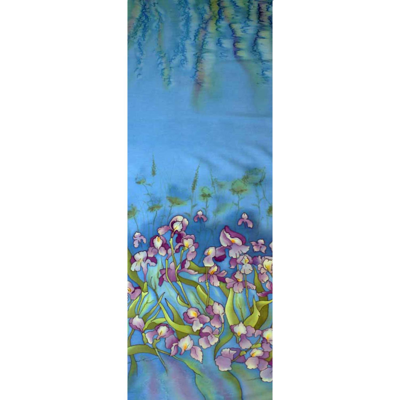 Палантин батик Ирисы голубые С-49-ш