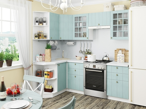 Кухня Прованс-2 белый, голубой