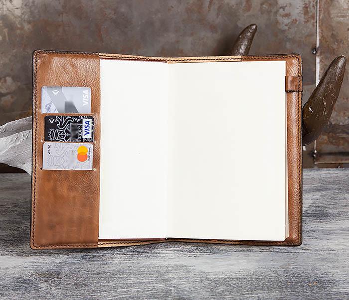 BC197 Кожаный ежедневник с гербом СССР, ручная работа (A5) фото 08