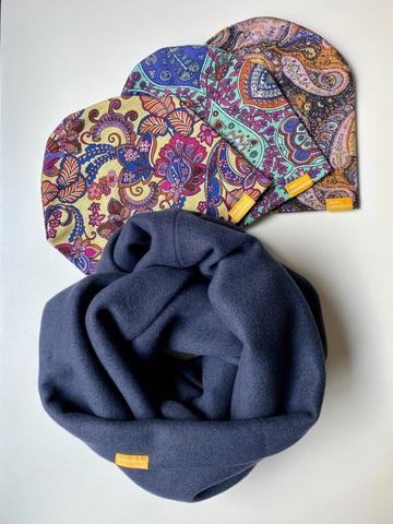 Комплект шерстяной темно-синий с изумрудным и ягодным с узором пейсли