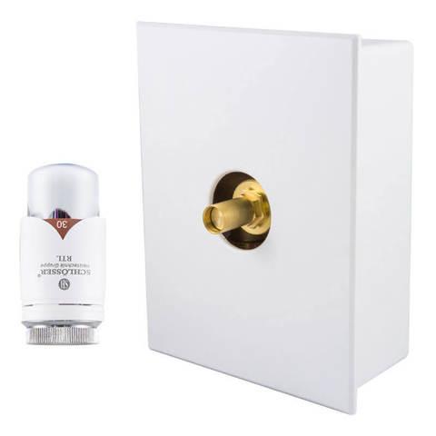 Комплект Kombi RTL с термоголовкой Brilliant Белый-Хром, с термостатическим клапаном G3/4